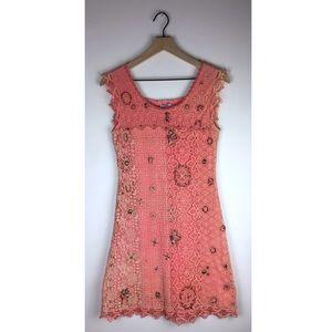 Yoana Baraschi Pink Lace Embellished Mini Dress